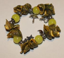 Groen/gele schelpen armband