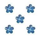 Plaksteen Bloem met streepjes 10x10 mm Blauw