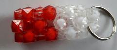 Handgemaakte sleutelhanger Rood/wit
