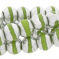 Kraal Rond Zilverkleurig/Olive