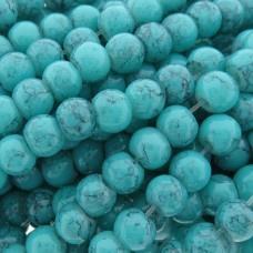 Glaskraal imitatie edelsteen rond Aqua Blauw 4 mm