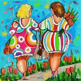 Twee vrolijke dames Tulpen 30x30 cm