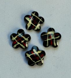 Plaksteen Bloem met streepjes 10x10 mm zwart