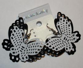 Zwart/witte vlinderoorbellen