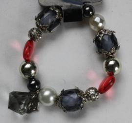 Armband Grijs/rood