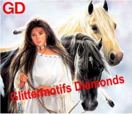 Indianenvrouw met paarden 45x40 cm