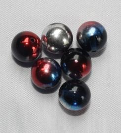 Glaskraal Zwart met Rood/blauw/zilver AB 8 mm