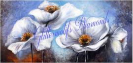 Witte bloemen 60x30 cm