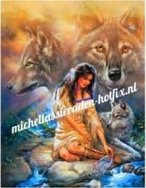 Diamond Painting Indianenmeisje met wolven 45x60 cm