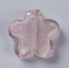 Glaskraal bloem Rose met zilverfolie