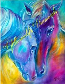 Kleurige paarden 40x50 cm