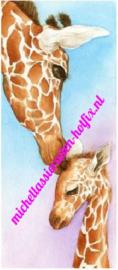 Kleurige Giraf met Jong 25x60 cm