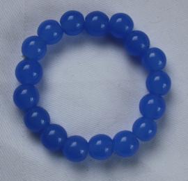 Blauwe glaskralen armband (kralen 10 mm)