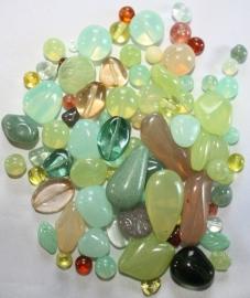 Groene glaskralen mix