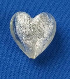 Glaskraal Hart wit met zilverfolie