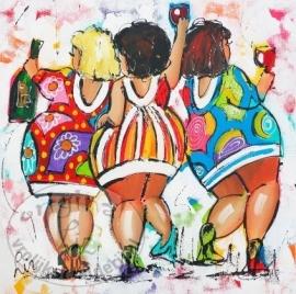 Drie vrolijke dames Wijn 40x40 cm