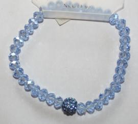 Blauwe facetgeslepen armband met stras accenten
