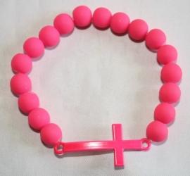 Neon armband Pink Kruis