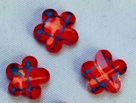 Plaksteen Bloem met streepjes 10x10 mm rood