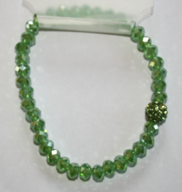 Groene facetgeslepen armband met stras accenten