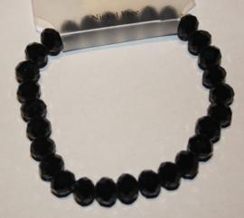 Zwarte facetgeslepen armband