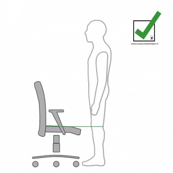 zitinstructie bureaustoel : zithoogte instellen :  stap 1