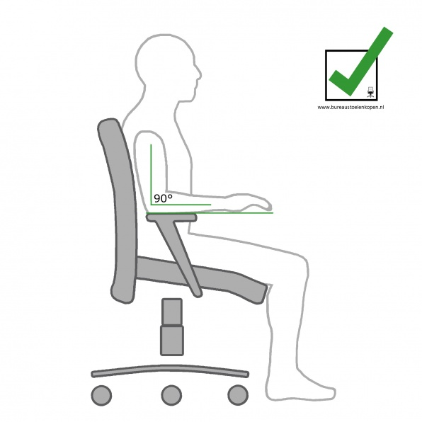 zitinstructie bureaustoel : armleggers instellen :  stap 3