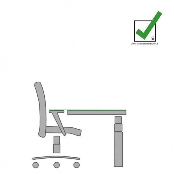 zitinstructie bureaustoel : bureau op juiste hoogte zetten :  stap 4