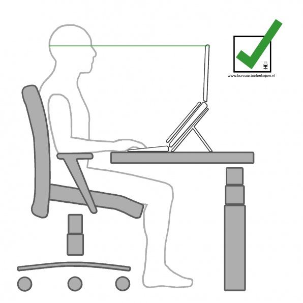 zitinstructie bureaustoel : computerscherm instellen :  stap 5