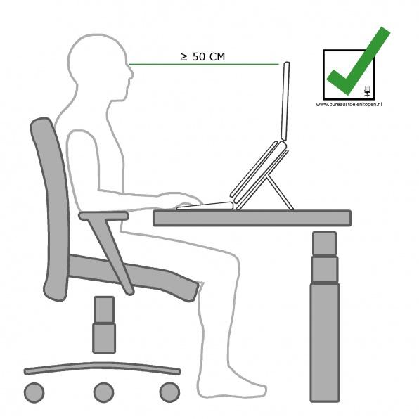 zitinstructie bureaustoel : computerscherm op juiste afstand instellen :  stap 6