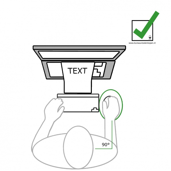 zitinstructie bureaustoel : muis op juiste afstand  stap 8