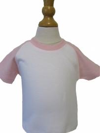 Baby t-shirt met gekleurde mouw met naam