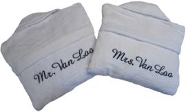 Set badjassen Mr en Mrs met naam