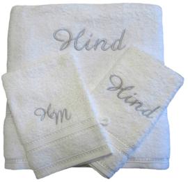 Handdoek met naam, sierrand 50x100cm