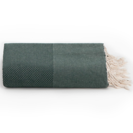 Plaid of grand foulard katoen -  donkergroen - 195x300cm (LANTARA)