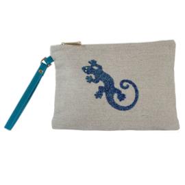 Gecko Pouch Clutch - Petrol Blue Caviar  - LANTARA