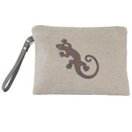 Gecko Pouch Clutch - Bronze Caviar  - LANTARA
