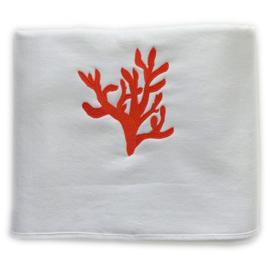 Hamamdoek Badstof - Wit met Rode Coraal (LANTARA) 95x190cm