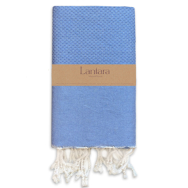 Hamamdoek Nid d'abeille - Azuur blauw - 100X200cm (LANTARA)