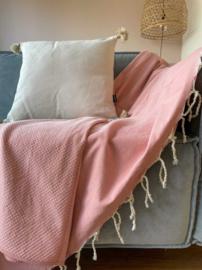 Plaid of  grand foulard katoen - Zalm Roze - 195x300cm (LANTARA)
