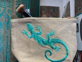 Turquoise Gecko Pouch Tasje - LANTARA