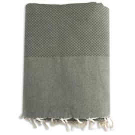 Plaid of grand foulard katoen -  Mosgroen - 190x300cm (LANTARA)