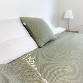 Plaid of  grand foulard katoen - Ottoman -  Olijf groen - 195x300cm (LANTARA)