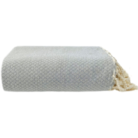 Plaid of  grand foulard katoen - Ottoman -  Licht grijs - 195x300cm (LANTARA)