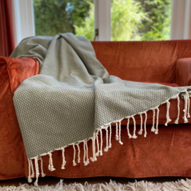 Plaid of  grand foulard katoen - Ottoman -  Olive Green - 190x300cm (LANTARA)