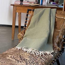 Plaid of grand foulard Wafel katoen - Olijf Groen - 195x300cm (LANTARA)