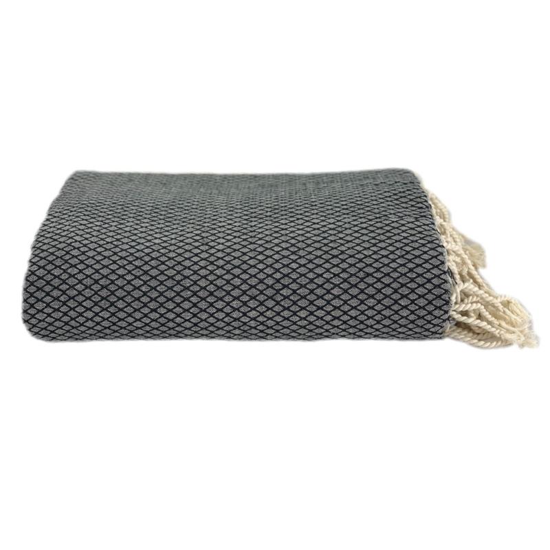 Plaid of  grand foulard katoen - Ottoman -  Zwart - 190x300cm (LANTARA)