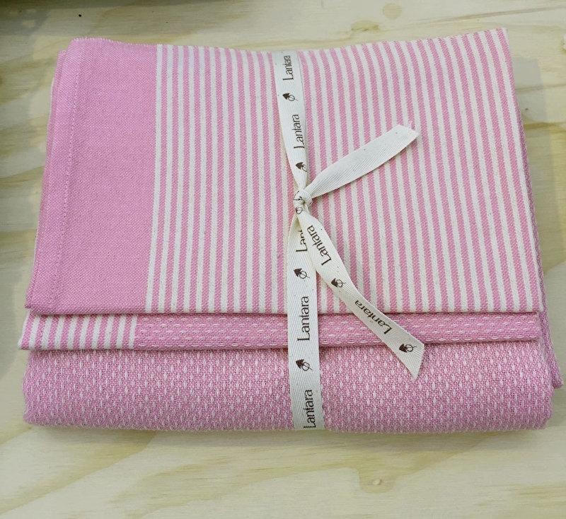 Baby (hand)doekenset roze (LANTARA), 100x175 cm