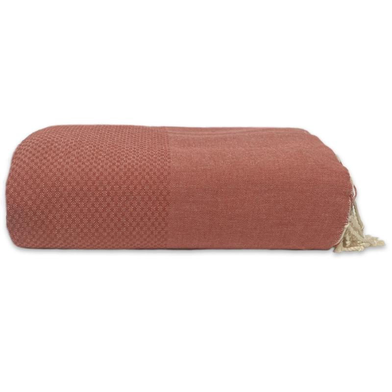Plaid of grand foulard katoen - Dark Terracotta  - 195x300cm (LANTARA)