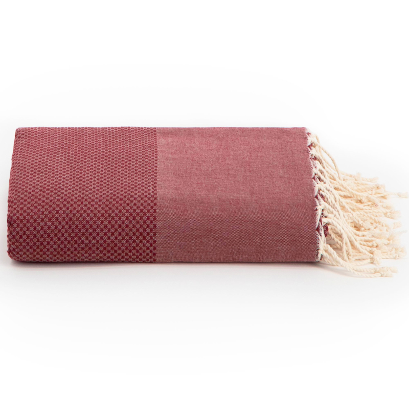 Plaid of  grand foulard katoen - Bordeaux rood - 198x300cm (LANTARA)